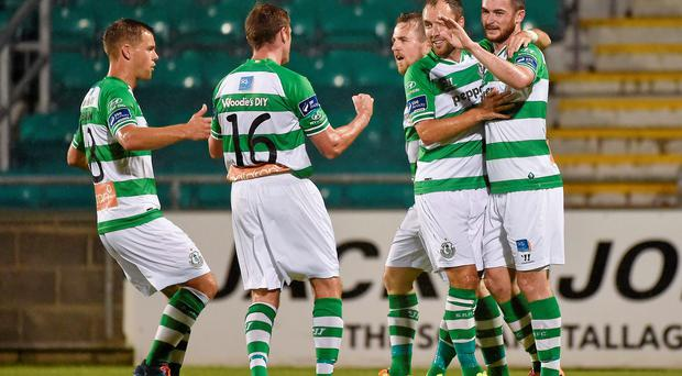 30 September 2014; Ryan Brennan, extreme right, Shamrock Rovers, celebrates with his team-mates after scoring the opening goal of the game. SSE Airtricity League Premier Division, Shamrock Rovers v UCD. Tallaght Stadium, Tallaght, Co. Dublin. Picture credit: Barry Cregg / SPORTSFILE