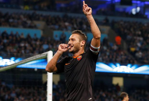 Roma's Francesco Totti (38) became the oldest player to score in the Champions League when he grabbed the equaliser against Manchester City last night - the previous oldest scorer in the competition was Ryan Giggs. Photo: REUTERS/Phil Noble