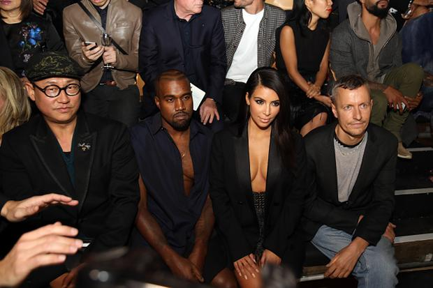 Alex Koo, Kanye West, Kim Kardashian and Lanvin men fashion designer Lucas Ossendrijver attend the Lanvin show as part of the Paris Fashion Week Womenswear Spring/Summer 2015