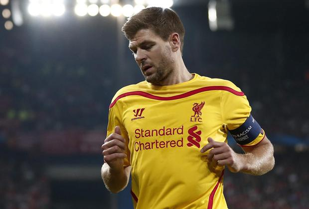 Liverpool captain Steven Gerrard shows his disappointment after his side's Champions League defeat to Basel at the St Jakob Stadium in Switzerland. Photo: AP Photo/Keystone, Peter Klaunzer