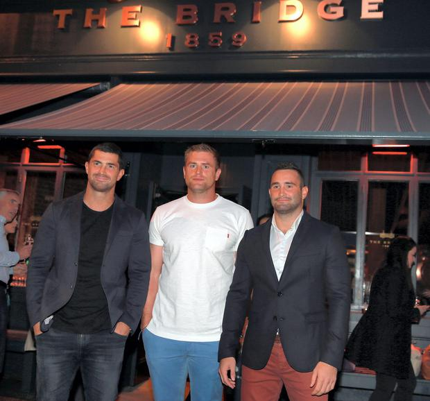 Jamie Heaslip with Rob and Dave Kearney at the opening of The Bridge pub in Ballsbridge, Dublin. Picture:Arthur Carron