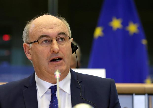European Union Commissioner designate for Agriculture and Rural Development Phil Hogan, talks during a hearing at the Agriculture and Rural Development Committee, at the European Parliament in Brussels, on Thursday Oct. 2, 2014. (AP Photo/Yves Logghe)