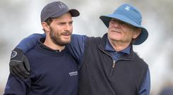 Bill Murray and Jamie Dornan at Carnoustie in Scotland. Photo: Kenny Smith/PA Wire.