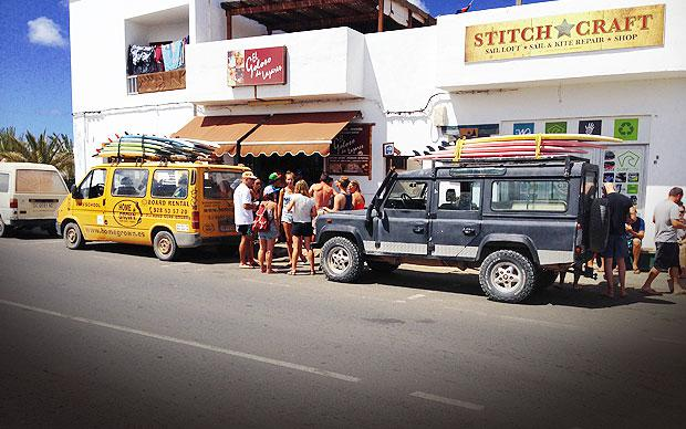 Weary surfers flock to the small French bakery in Lajares on the way back from 'Shark Bay'