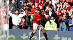 Manchester United's Radamel Falcao celebrates scoring the winning goal against Everton at Old Trafford.