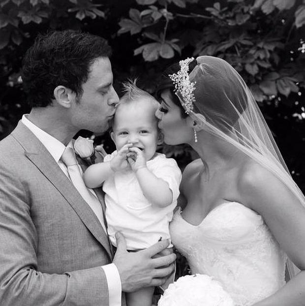 Frankie and Wayne Bridge on their wedding day with son Parker