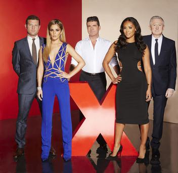 The X Factor stars Dermot O'Leary, Cheryl Cole, Simon Cowell, Mel B and Louis Walsh
