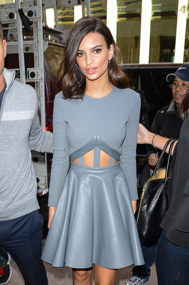 Actress Emily Ratajkowski enters the Sirius XM Studios on October 6, 2014 in New York City. (Photo by Ray Tamarra/GC Images)