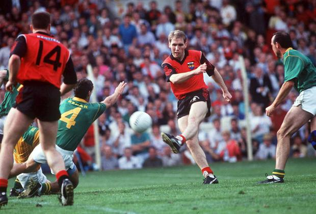 Mickey Linden, Down in action against Terry Ferguson,(4) and Mick Lyons, Meath, 1991 All Ireland Football Final. This was the first time in All Star history that the beaten All Ireland finalists got more All Stars than the winners. David Maher / SPORTSFILE