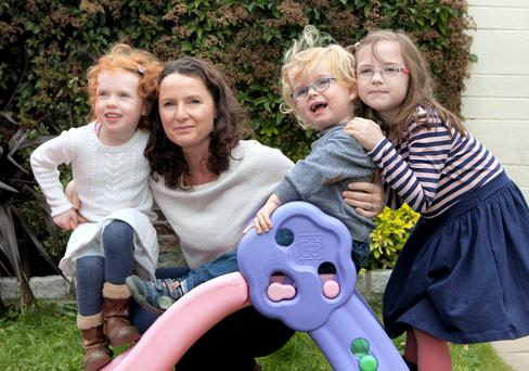 Andrea Mara with her children Elissa (7), Nia (5) and Matthew, (2) from Carriglea Downs in Dun Laoghaire. Photo: Peter Houlihan.