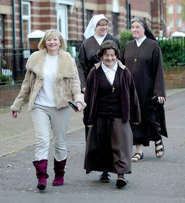 Martina Purdy on her way to Mass at St Peter's Cathedral in Belfast on Sunday with Elaine Kelly, new Postulate, and Sr Kathleen from Adoration Convent on the Falls Road