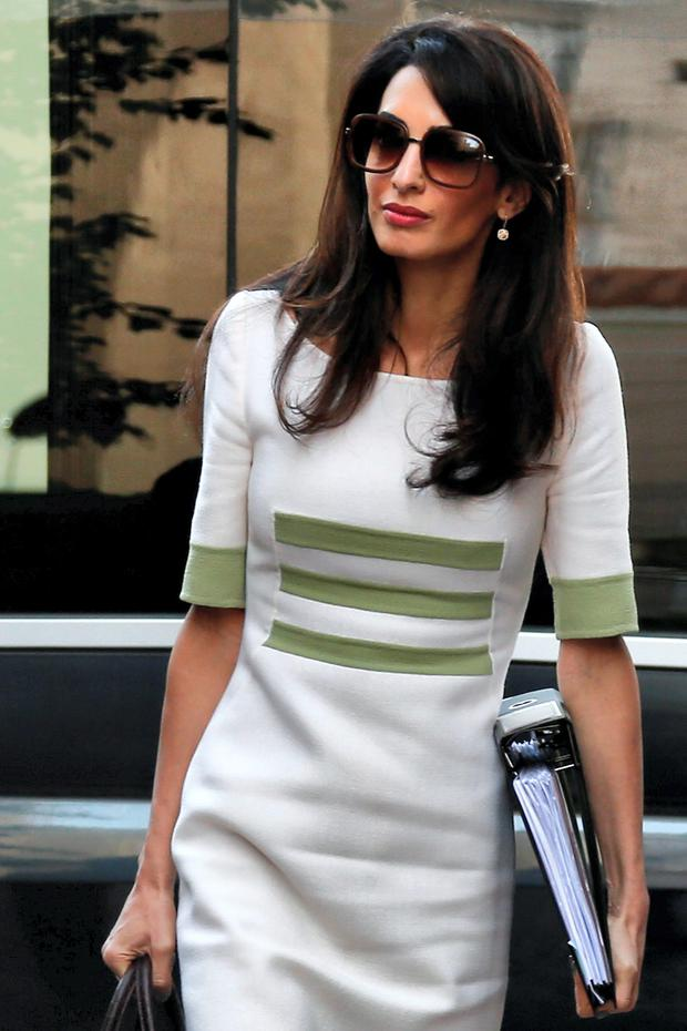 Human rights lawyer Amal Alamuddin Clooney arrives at the ministry of Culture and Sports for a meeting with Greek minister Konstantinos Tasoulas