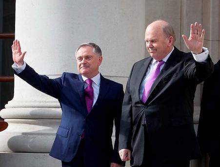 Minister for Public Expenditure and Reform Brendan Howlin TD & Minister for Finance Michael Noonan TD at the announcement of Budget 2015 / Expenditure Report 2015 at Government Buildings , Dublin. Photo: Gareth Chaney Collins
