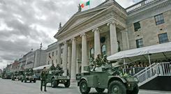 A parade past the GPO in Dublin, scene of the 1916 Rising and headquarters of An Post, which will be the focus of the centenary celebrations in Easter 2016. Getty Images