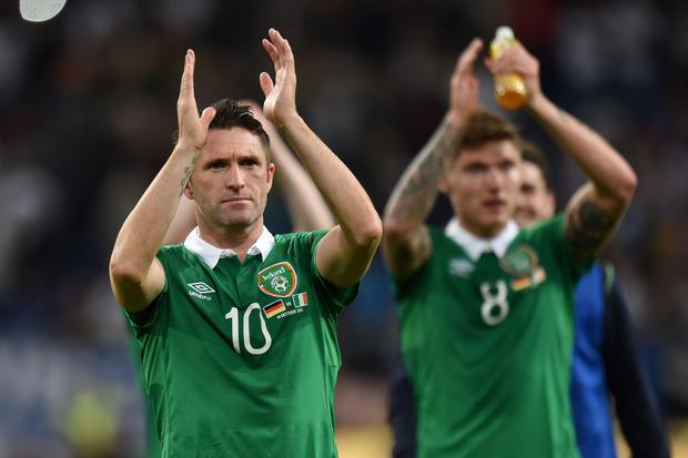 Republic of Ireland's Robbie Keane celebrates after the final whistle
