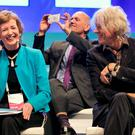 Bob Geldof and former President Mary Robinson share a joke at the One Young World Summit.