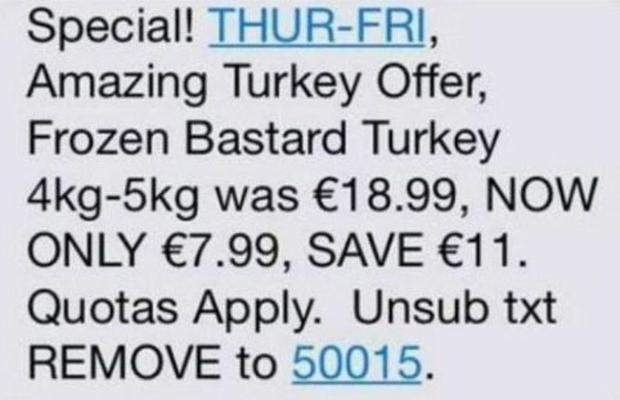 The text sent out by Supervalu this morning
