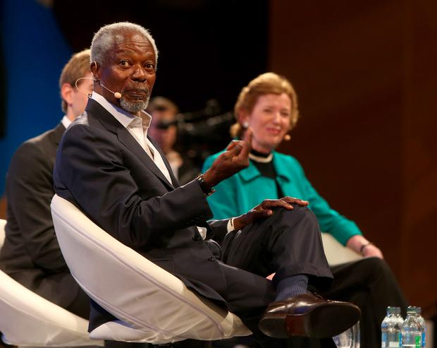 Kofi Annan shakes and Mary Robinson pictured at the One Young World 2014 at the Convention centre in Dublin