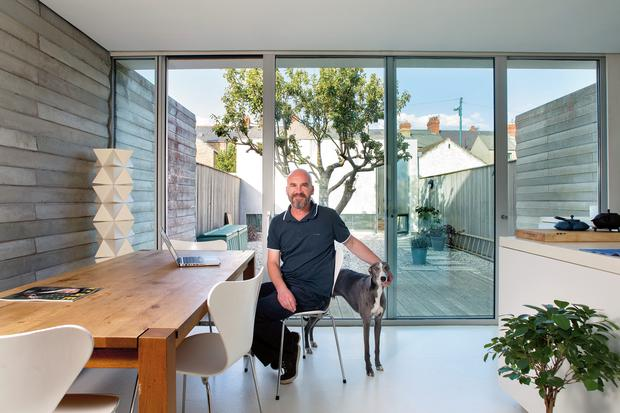 Artist John Graham in the eating area of his extension. The walls are concrete, as is the floor. The chairs are by Arne Jacobsen. Frankie the whippet is his daughter Rachel's dog, but John is a big fan