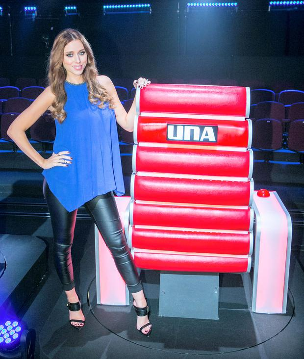 Una Foden during a recording of The Voice of Ireland in The Helix