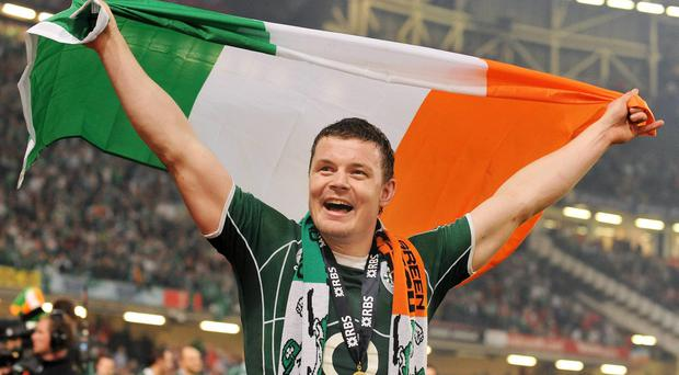 Brian O'Driscoll celebrates after Ireland won the Grand Slam by defeating Wales in Cardiff in 2009.