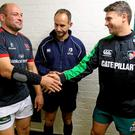 Ulster captain Rory Best shakes hands with his Leicester counterpart Ben Youngs before their Champions Cup clash at Welford Road. Photo: John Dickson / DICKSONDIGITAL / SPORTSFILE
