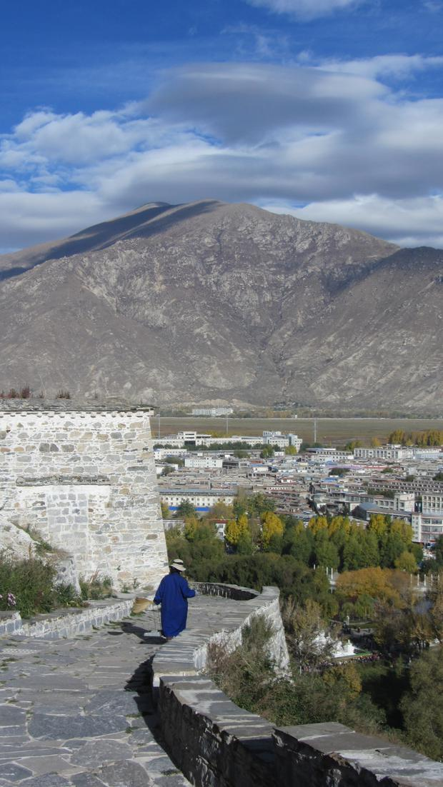 A view from the side of Potala Palace in Lhasa.