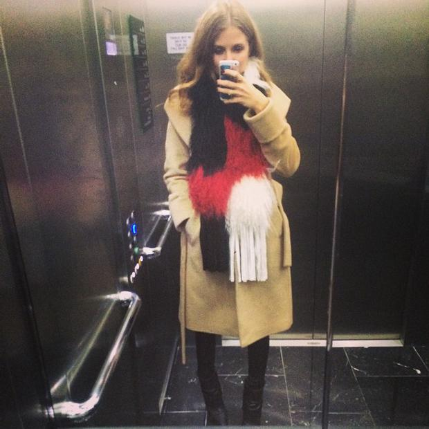 Millie Mackintosh wears a scarf by Irish designer Giovanna Borza