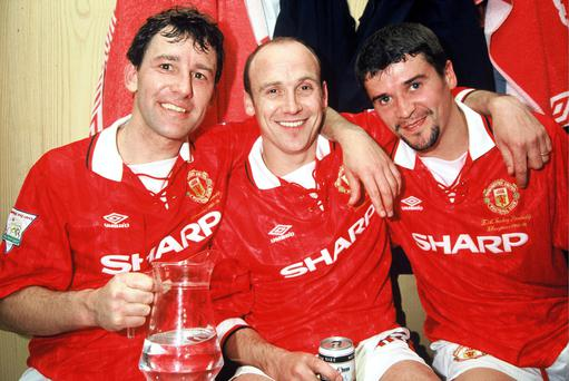 Bryan Robson, Mike Phelan and Roy Keane of Manchester United