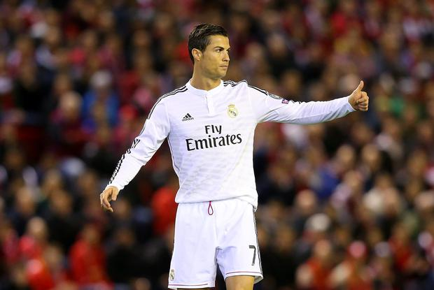 Cristiano Ronaldo of Real Madrid gives a thumbs up during the UEFA  Champions League Group B 73b3564dea2af