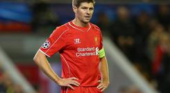 Steven Gerrard of Liverpool looks on during the UEFA Champions League Group B match between Liverpool and Real Madrid