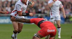 Rory Best of Ulster is tackled by Toulon's Romain Taofifenua at the Kingspan stadium.
