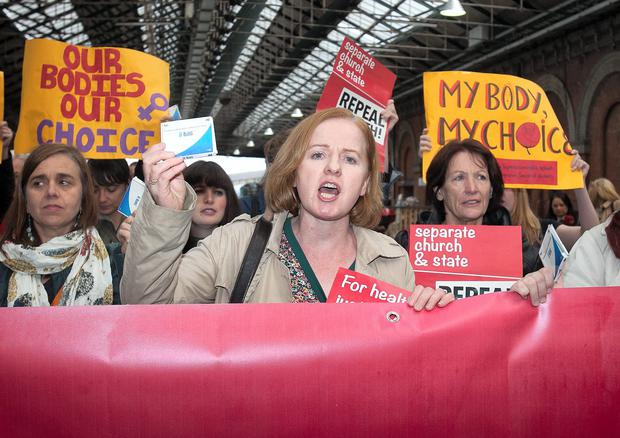 Pro Choice activist Ruth Coppinger TD after arriving from Belfast after bringing back abortion pills denied to women in the Republic of Ireland at Connolly Station, Dublin. Photo: Gareth Chaney Collins
