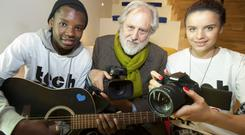 Lord David Puttnam launches TechSpace at the Light House Cinema and celebrates the announcement of TechSpace's Irish strategic partnership with the Adobe Foundation. Lord Puttnam gives Tyrick Tshuma and Delia Aires a masterclass in digital skills. Picture: Tony Kinlan, 1/11/2013.
