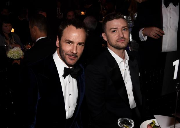 Honoree Tom Ford (L) and singer Justin Timberlake attend amfAR LA Inspiration Gala honoring Tom Ford at Milk Studios