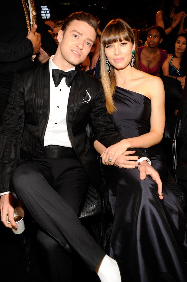 Justin Timberlake and Jessica Biel attend the 55th Annual GRAMMY Awards