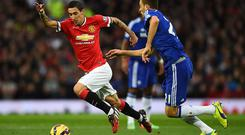 Angel Di Maria on the charge against Chelsea, will be under pressure to support Luke Shaw defensively in Sunday's Manchester derby. Laurence Griffiths/Getty Images