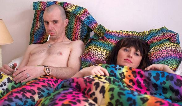Tom Vaughan Lawlor as Nidge and Mary Murray as Janet in a scene from Love/Hate