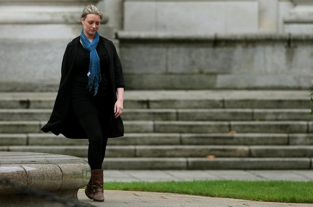 Abuse survivor Mairia Cahill leaving Government Buildings, Dublin, following a meeting with Taoiseach Enda Kenny