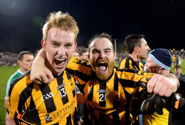 Rory Carr (left) and Mark McGowan of St Eunan's celebrate their side's victory over Glenswilly in the Donegal SFC final. Photo: Stephen McCarthy / SPORTSFILE