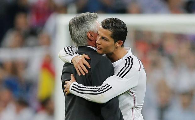 Real Madrid's coach Carlo Ancelotti, left and Cristiano Ronaldo could be about to part company