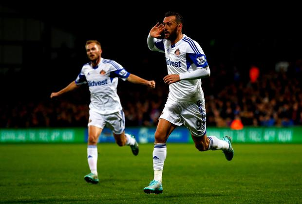 Steven Fletcher celebrates after opening the scoring for Sunderland in their Premier League win over Crystal Palace at Selhurst Park. Photo: Clive Rose/Getty Images