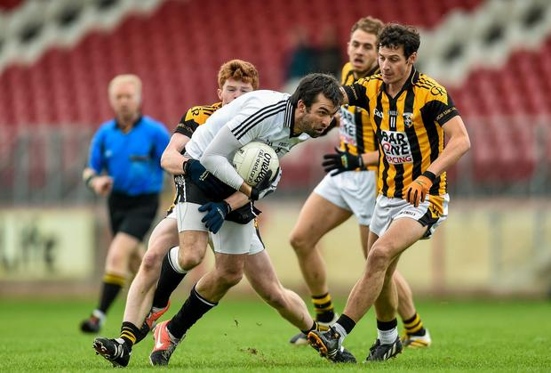 Joe McMahon in action for Omagh against Crossmaglen