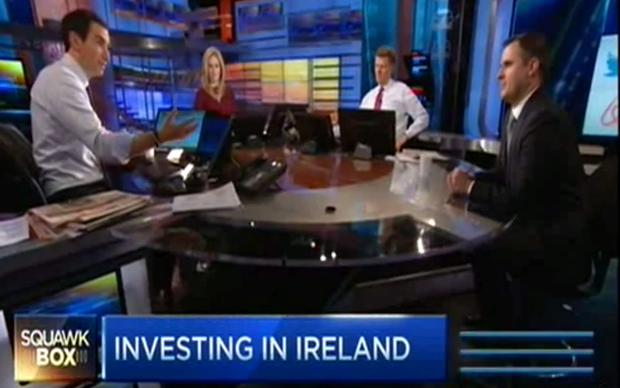 A screen grab of the interview with Martin Shanahan (far right) on CNBC's 'Squawk Box'