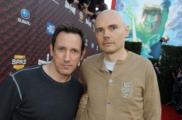 Musicians Jimmy Chamberlin and Billy Corgan of Smashing Pumpkins arrive at SPIKE TV's Scream 2008 Awards held at the Greek Theatre