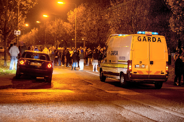 The scene at Coolock where people held a protest in connection with Irish Water; there have been claims the protest was hijacked by violent dissidents. Pic: Collins Photos