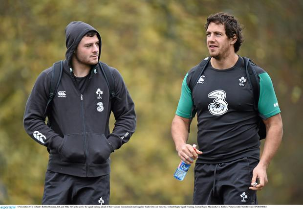 6 November 2014; Ireland's Robbie Henshaw, left, and Mike McCarthy arrive for squad training ahead of their Autumn International match against South Africa on Saturday. Ireland Rugby Squad Training, Carton House, Maynooth, Co. Kildare. Picture credit: Matt Browne / SPORTSFILE
