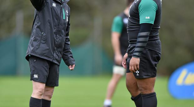 6 November 2014; Ireland head coach Joe Schmidt with Rodney AhYou during squad training ahead of their Autumn International match against South Africa on Saturday. Ireland Rugby Squad Training, Carton House, Maynooth, Co. Kildare. Picture credit: Matt Browne / SPORTSFILE