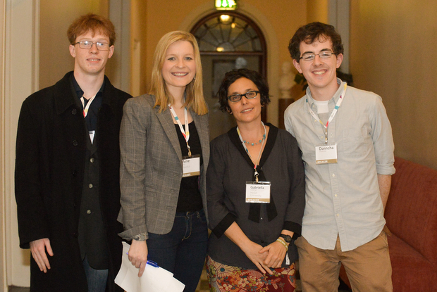 Darren Martyn, Anonymous; Lulzec, Aine Kerr, Political Editor, Storyful, Gabriella Coleman, Professor, McGill University, Donncha O'Cearbhaill, Anonymous; Lulzec before going on the library stage during Day 3 of the 2014 Web Summit in the RDS, Dublin,