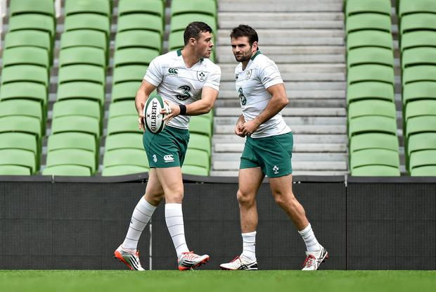 Robbie Henshaw and Jared Payne during an open training session